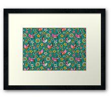 Doodle Birds Floral Pattern Framed Print