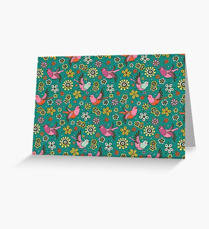 Doodle Birds Floral Pattern Greeting Card