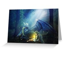 Girl with a dragon Greeting Card