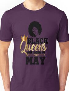 Black Queens Are Born In May Birthday Gift Natural Hair Afro Strong Black Girl Magic Melanin Poppin Faux Gold Foil Bling  Unisex T-Shirt