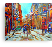 CANADIAN ARTIST PAINTS CANADIAN WINTER CITY SCENE OLD MONTREAL BY CAROLE SPANDAU Metal Print