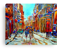 CANADIAN ARTIST PAINTS CANADIAN WINTER CITY SCENE OLD MONTREAL BY CAROLE SPANDAU Canvas Print