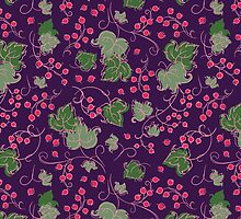 Bright Vintage Berries and Leaves Wallpaper.  by Kimazo