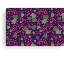 Bright Vintage Berries and Leaves Wallpaper.  Canvas Print