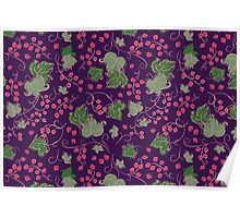 Bright Vintage Berries and Leaves Wallpaper.  Poster