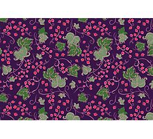 Bright Vintage Berries and Leaves Wallpaper.  Photographic Print