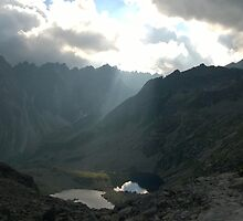 Mountains with lake by krabsimon
