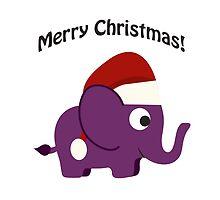 Merry Christmas! Cute Santa Elephant by Eggtooth