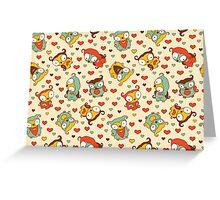 Hear Little Owls Pattern. Greeting Card