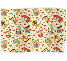 Hear Little Owls Pattern. Poster