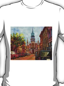 EGLISE BONSECOURS PAINTINGS OF CANADIAN CITIES AND CHURCHES BY CANADIAN ARTIST CAROLE SPANDAU T-Shirt