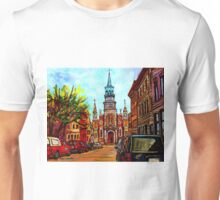 EGLISE BONSECOURS PAINTINGS OF CANADIAN CITIES AND CHURCHES BY CANADIAN ARTIST CAROLE SPANDAU Unisex T-Shirt