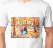 MONT ROYAL PARK WITH COUPLE  CANADIAN LANDSCAPE SCENES PAINTINGS BY CAROLE SPANDAU Unisex T-Shirt