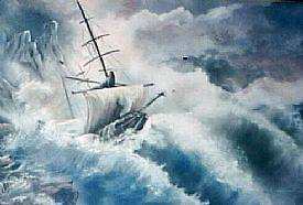 ship in stormy sea by francelle  huffman
