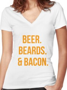 Beer. Beards. Bacon. Women's Fitted V-Neck T-Shirt