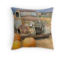 Chevy truck pumpkin patch Throw Pillow