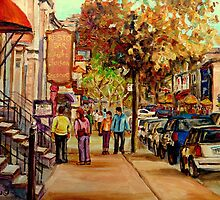 CANADIAN SUMMER SCENE PAINTING MONTREAL CAFES AND SHOPS BY CANADIAN ARTIST CAROLE SPANDAU by Carole  Spandau