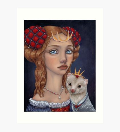 Lady with a Ferret Art Print