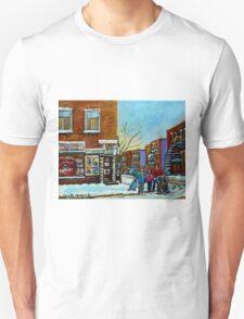 PAINTINGS OF QUEBEC DEPANNEURS WINTER SCENES BY CANADIAN ARTIST CAROLE SPANDAU T-Shirt