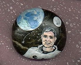 FRED HAISE PAINTING ON ROCK by francelle  huffman