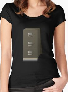 Glitch Groddle Land cubicle cabinet base Women's Fitted Scoop T-Shirt