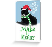 Funny Holiday Tuxedo Cat Greeting Card