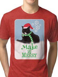 Funny Holiday Tuxedo Cat Tri-blend T-Shirt