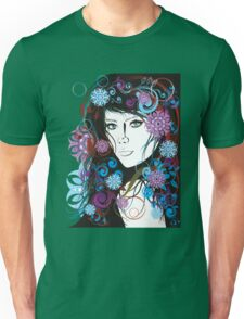 Floral Ornamental Female Portrait Unisex T-Shirt