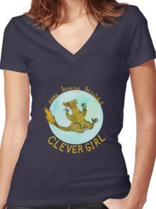 Clever Girl (Sharp Claws) Women's Fitted V-Neck T-Shirt