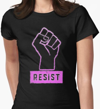 Keep Marching Pink Power Resist Fist Womens Fitted T-Shirt