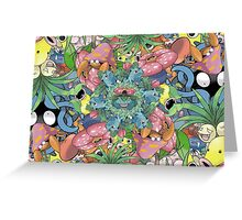 Grass Type Pokémon Collage Greeting Card