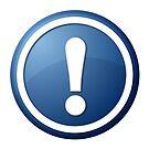 Blue Exclamation Point Button by Henrik Lehnerer