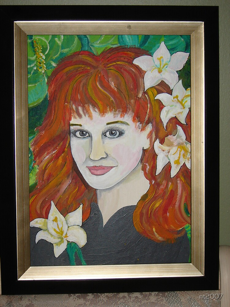 Red Head with lilies by nt2007