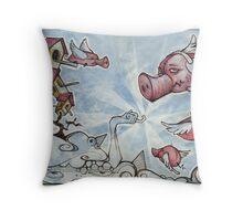 when pigs fly... Throw Pillow