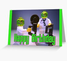 Doctor Toxic with Chainsaw, Custom Minifigure Greeting Card