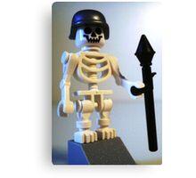 Skeleton Zombie Soldier with Custom Minifigure Helmet & Bazooka Canvas Print