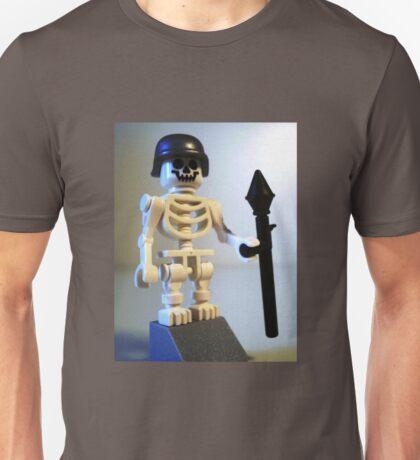 Skeleton Zombie Soldier with Custom Minifigure Helmet & Bazooka Unisex T-Shirt