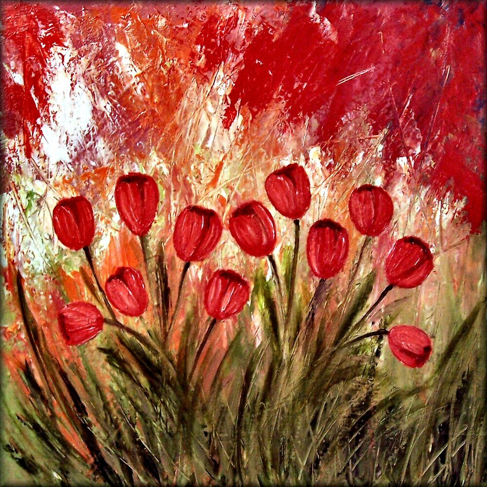 """Boastful Garden"" Contemporary Abstract Tulips by Peggy Garr"