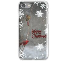 Happy Christmas - male and female Northern Cardinal iPhone Case/Skin