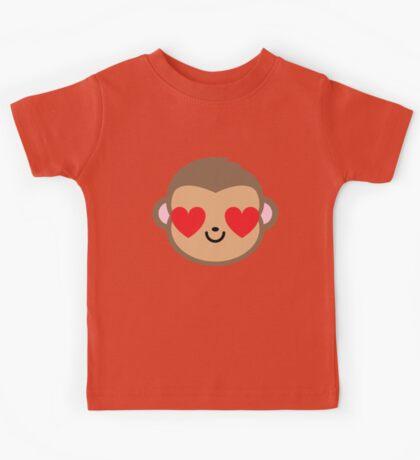 Monkey Head Emoji Heart and Love Eye Kids Tee