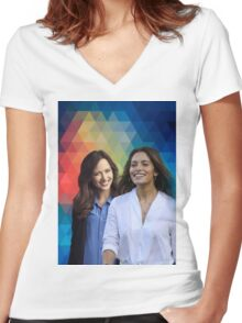 Amy Acker & Sarah Shahi (Person of Interest) Women's Fitted V-Neck T-Shirt