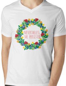 Floral Persistence Mens V-Neck T-Shirt