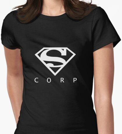 Black and White Supercorp  Womens Fitted T-Shirt