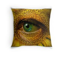 Sunflower with eye Throw Pillow