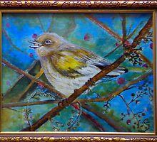 Birdie on bough by somamandal1