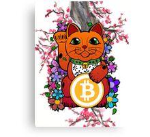 Lucky Bitcoin Cat Canvas Print