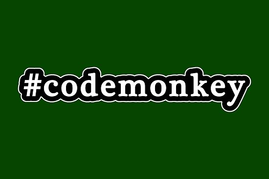 Code Monkey - Hashtag - Black & White by graphix
