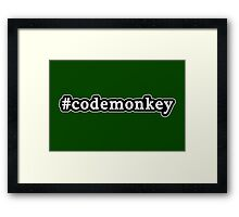 Code Monkey - Hashtag - Black & White Framed Print