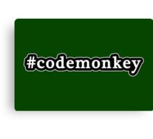 Code Monkey - Hashtag - Black & White Canvas Print