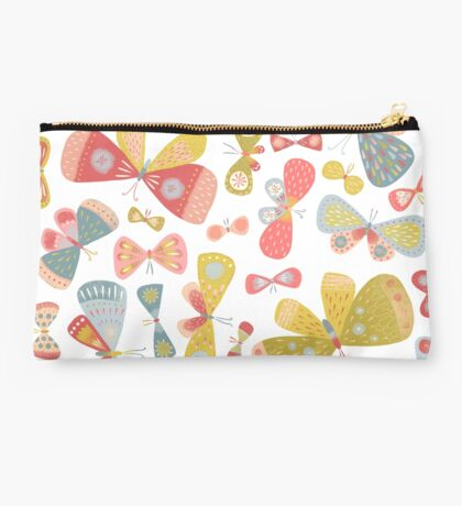 Butterfly Tango on White Studio Pouch
